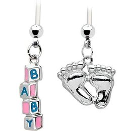 Wholesale Baby Feet Jewelry - Hot Sale Flexible White PTFE 22MM Barbell Pregnancy Belly Ring Dangle BABY Feet Navel Bar Belly Button Ring Body Piercing Jewelry 14G 12PCS