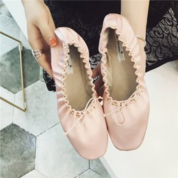 Wholesale Roll Up Shoes - Fashion Silk Ballerina Flats Genuine Leather Women Shoes Flats Roll Up Foldable Ballets Hot Flat Shoes Women