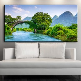 Wholesale Paint Over Canvas Print - ZZ1546 modern canvas posters and prints art spring green tree mountain bridge over river canvas pictures oil art painting prints