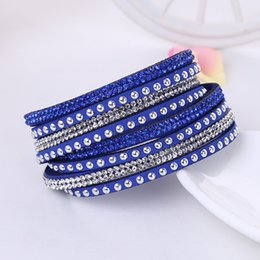 Wholesale Charming Sparkles Jewelry - 20pcs New Fashion Multilayer Wrap Bracelets Slake Deluxe Leather Charm Bangles With Sparkling Crystal Women Sandy Beach Fine Jewelry Gift