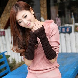 Wholesale Korean Half Finger Gloves - Autumn Winter Knitting Wool Twist Long Gloves Korean Style Cute Female Thick Warm Half-finger Arm Sleeve Women Mittens Promotion