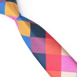 Wholesale Tie Cravat Slim - Wholesale Fashion Mens Plaid Silk Skinny Ties Men Business Slim Ties Mix Color Grid Cravat Tie E-048