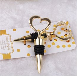 Wholesale Stainless Steel Heart Bottle Stoppers - 100PCS Wedding favor Guest gift Heart of Gold Wine Bottle Stopper Golden party favor Souvenir giveaways DHL Fedex Free Shipping