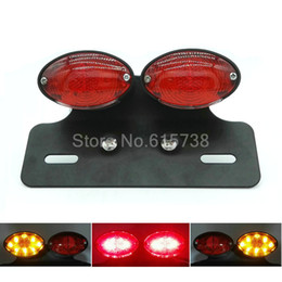 Wholesale Wholesale License Plate Holders - Motorcycle lights Motorcycle Tail Light dual Cat Eye Custom License Plate chorme Holder red