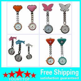 Wholesale Nursing Fob Watches - DHL Free 50PCS silicone nurse watch nurse pin watch silicon nurse fob watch pocket nurse watch 6 Model -Dolphin Smile-shaped Triangle Mickey