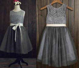 Wholesale Grils Tulle - 2016 hot sale Gray Lace Tulle flower girl dress Kids junior Bridesmaid Dresses Grils Party