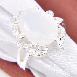 Wholesale Gems Rhinestones - 5pcs lot Bulk Price Christmas Gift 925 Sterling Silver Oval Moonstone Gems Ring r0482