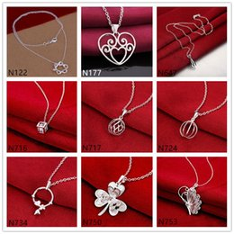 Wholesale Gemstone Flower Pendant - Women's gemstone sterling silver Pendant Necklace GTP1,Fashion flower butterfly 925 silver Necklace(with chain) 10 pieces a lot mixed style
