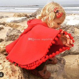 Wholesale Baby Red Cape - 2016 spring autumn baby girls INS cloak children Red Hooded cape fashion Tassel pompon kids Poncho C1512