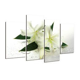 Wholesale H Frame - Hot sell 4 panels lily flowers modern art canvas wall paintings wall pictures for living room canvas prints cuadros decorativos h 077