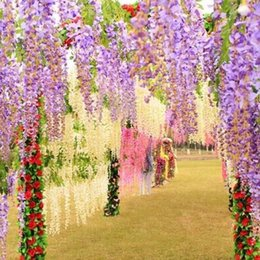 Wholesale Wall Decorations Flowers - (12pcs   lot ) Wedding Decoration Silk Flower Garland Artificial Flower Wisteria Vine Rattan For Party Home Garden Hotel decoration