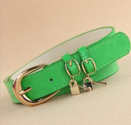 Wholesale Locked Belts For Women - 2013 new arrival fashion candy color all match designer brand belt with key and lock pendant jeans belt for women