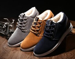 Wholesale Short Boots For Men - Ankle for men boots waterproof 2017 short plush warm shoes cheap flat with snow boots suede 39-44 winter boots
