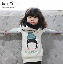 Wholesale Penguin Animal Hat - Winter Children T-shirts Boys girls hat penguin long sleeve sweat shirt kids thicken tops jumper baby boys girls casual pullover A9958