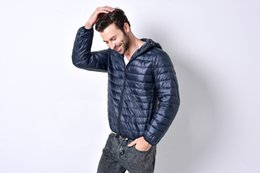Wholesale Thin Down Jacket Hooded - Fall-2016 New autumn winter ultra thin duck down men jacket plus size XXXL hooded jacket for men fashion sports mens Outerwear coat