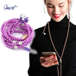 Wholesale Necklace Earphone For Mp3 - Phone Mp3 Headphone In Ear Diamond Pearl beads couple wire necklace Earphones With Mic Fashional gift for girls Christmas gift