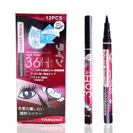 Wholesale Eyeliner Pencil Sets - YANQINA 36H Makeup Eyeliner Pencil Waterproof Black Eyeliner Pen No Blooming Precision Liquid Eye liner 12pcs set