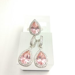 Wholesale Hot Pink Coral Jewelry - Water Drop peach pink Sterling Silver Women Jewelry Sets AAA Zircon Earrings Rings Size 7 8 9 Free Gift Box