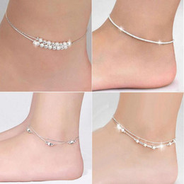 Wholesale Silver Ball Chain Bracelet - Silver Anklets Bracelets Hot Sale Link Chain Anklet For Women Girl Foot Bracelets Fashion Jewelry Wholesale Free Shipping 0343WH-40