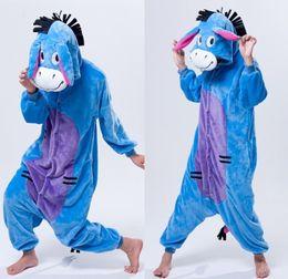 Wholesale Donkey Kigurumi - Cartoon Animal Cosplay Donkey kigurumi Onesies Pajamas sleepwear Jumpsuit Hoodies Adults Cos Costume for christmas Halloween and Carnival