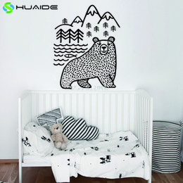 Wholesale nursery wall stickers fish - Large Black Bears Fish Mountain Wall Sticker Art Decals Diy Home Decor New Design Vinyl Wall Tattoo Vinilos Paredes Mural D 859