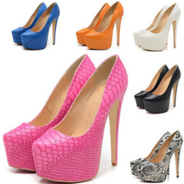 Wholesale Sexy Shoes Platform Pattern - Ladies new style Fashionable night party platform pumps killer high heels women shoes snake pattern big size sexy styles