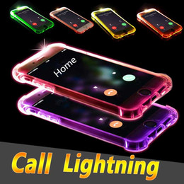Wholesale Flash Edge - LED Flash Light Up Case Remind Incoming Call Cover Clear Transparent Shockproof TPU shell For iPhone X 8 7 Plus 6 6S 5S 5 Samsung S8 S7 Edge