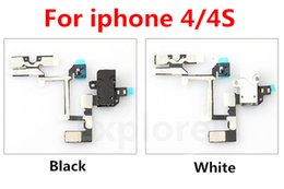 Wholesale Headphone Audio Cable Volume Control - Headphone Hand Free Audio Earphone Jack Volume Control Flex Cable Microphone Ribbon Keypad Mute Silent Switch Flat For iPhone 4 4G 4S