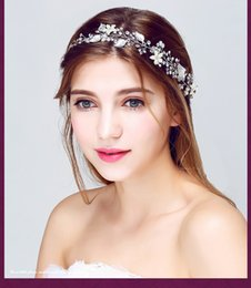 Wholesale Headband Bridal Ribbon - Wedding Bridal Pearl Headband Ribbon Hair Accessories Band Headpiece Crown Tiara Princess Queen Crystal Rhinestone Party Headdress Jewelry