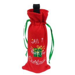 Wholesale Knitted Bottle Cover - Knitting letter All I Want for Christmas letter bottle cover bags Xmas home party decor wine bottle bag covering with drawstring Christmas H