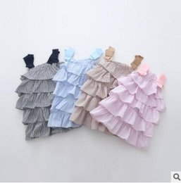 Wholesale Wholesale Cupcake Tutu Dress - Girls Tiered Dress 2016 Summer Ruffle Cupcake Dress Layered Dress Baby Girl Dress Cute Bow Multilayer Dress Boutique Clothing Princess Dress