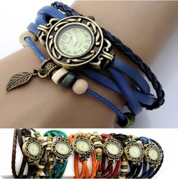 Wholesale Wholesale Auto Fabric - New Vintage Retro Leaf Leather Strap Roma Number Dial Woman Watch Bracelet Black,brown,green,orange,red,white Wristwatch