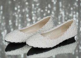 white satin bridal flats Promo Codes - Full size Stock 2016 Beautiful Sexy White Satin Lace Wedding Shoes Flats Bridal Shoes