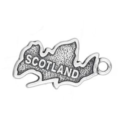 Wholesale country maps - 15*23mm Antique Silver Plated Country Map Scotland Patriotic Charm Travel Jewelry 20pcs