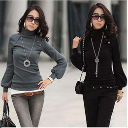 Wholesale New Korean Women Fashion Blouse - A647 2017 women new fashion 4 colors korean turtleneck long lantern sleeve elegant t shirts ladies spring autumn blouses dress tops sweaters