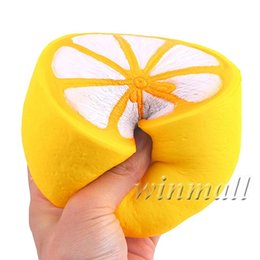 Wholesale Lemon Charms - 11.5cm Jumbo kawaii Simulation Fruit Slow Rising Squishies Scented Lemon Squishy Stress Relief Toy Charms Xmas Gift