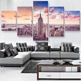 Wholesale Oil Painting Framed Abstract Building - The Tallest Building In New York,5 Pieces Home Decor HD Printed Modern Art Painting on Canvas (Unframed Framed)