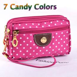 Wholesale Dot Wristlet - Wholesale- Fashion Women Wallets Small Handbags Canvas Dot Lady Zipper Moneybags Clutch Coin Purse Pocket Wallet Cards Holder Wristlet Bags