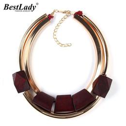 Wholesale Unique Cheap Jewelry - Wholesale- Best lady Unique Fashion Metal Color Fashion Jewelry Cheap Wood Necklaces & Pendants Statement Collar Choker Necklace Women 2297