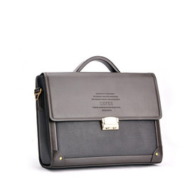 Wholesale Briefcase Hasp - Wholesale-Men's High Quality Brand Business Briefcase Handbags With Password Lock Horizontal Style Fashion PU Leather Shoulder Bags