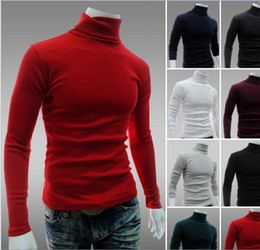 Wholesale korean orange sweater - Turtleneck Sweatshirt Men Solid Color Long Sleeve Pullover Brief Mens Primer Shirt Sweater Free Shipping Korean Style Slim Fit For Men