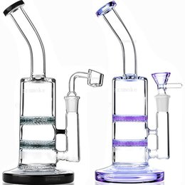 honeycomb percolator water pipe Promo Codes - Honeycomb Perc Glass Bong quartz banger bowl bongs dab oil rigs Water Pipes heady wax rig pipe Filter Diffuser Percolator purple black Thick