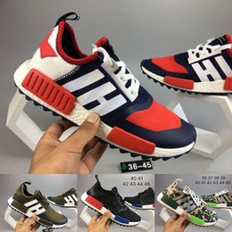 Wholesale Men Mountaineering Boots - 2017 NMD Trail Runner R1 boost x White Mountaineering Man Running Shoes OG black Mens Women Run Sport Sneakers nmds ultraboost US 5-11