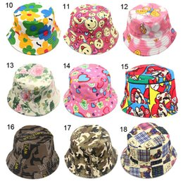 Wholesale Kids Sunhats - Children Bucket Hats Kids Sun Hat 30 styles Floral baby sunhat kids Fishing Caps Baby Fisherman Hats Cartoon kids beach sun hats D496 20