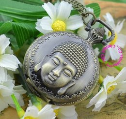 Wholesale Buddha Watch - Wholesale-Coupon for wholesale buyer price good quality Chic accessories fashion girl women quartz bronze buddha pocket watch necklace