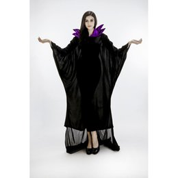 Wholesale Horn Cosplay - Wholesale-Adult Maleficent Horn Black Witch Halloween Costumes for Women Sexy Angelina Jolie Cosplay Carnival Costume Party Dress PS12