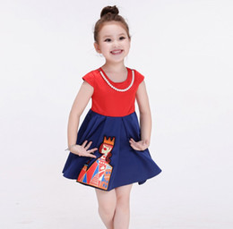 Wholesale Trendy Wholesale Summer Clothing - 2016 Trendy Style Summer Children Girls King Embroidery Lace Dresses with Pearl Necklace Princess Fresh Dress Clothing K7512