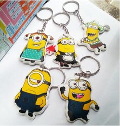 Wholesale Despicable Keychains - Free Shipping Movie Cartoon Despicable Me Key Chain Ring Holder Cute Small Minions Figure Keychain Keyring Pendant 2015 Xmas Gifts
