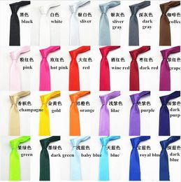 Wholesale Female Neck Ties - 2016 New Fashion Men stylish high quality wedding necktie male female narrow skinny tie casual solid color tie necktie wholesale