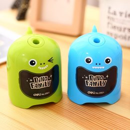 Wholesale Dinosaur Electric - Wholesale-Automatic lead dinosaur shape electric planing for absorbing 0501 NEW stationery pencil sharpener